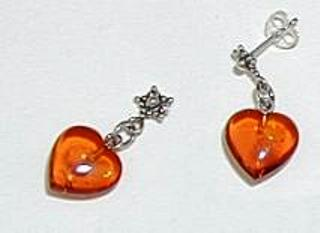 heart shaped amber earrings