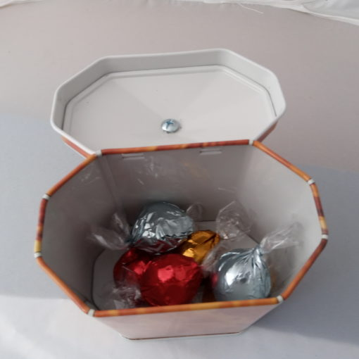 tortoiseshell tin with chocolates