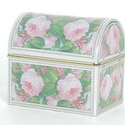 tin coffer with roses design